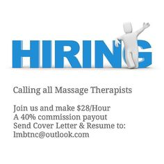 Attention all Massage Therapists!  We are looking for one very special person to fill a part-time position (possibly two people). Apply today.  980-354-LMBT. . . . #lmbt #nclmbt #job #career #resume #jobfinder #massagetherapy #massage #deeptissue #carync #raleigh #durham #apexnc #morrisvillenc #work