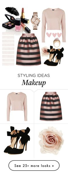 """""""rose gold & black"""" by dhruvi5002 on Polyvore featuring Cara, Topshop, Chanel and Michael Kors"""