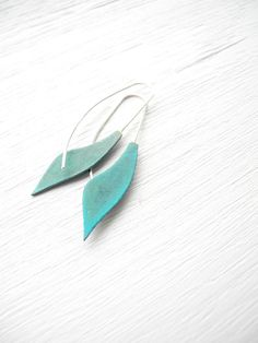 Alibli - Verdigris Long leaf Earrings - handmade solid brass and silver dangle petal, curve, geometric, made in Italy