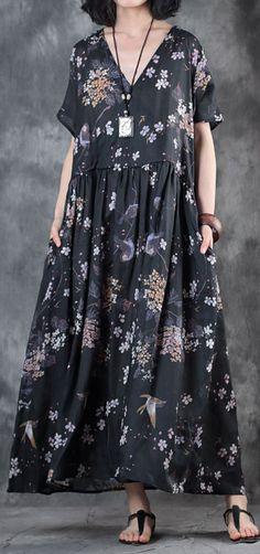 Vintage Dresses black linen dress oversized floral linen clothing dresses vintage v neck caftans - Funky Dresses, Vintage Summer Dresses, Cheap Dresses, Casual Dresses, Hijab Casual, Dress Vintage, Linen Dresses, Cotton Dresses, Maxi Dresses