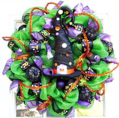 Witch Hat Mesh Wreath by HolidaysAreSpecial on Etsy, $60.00