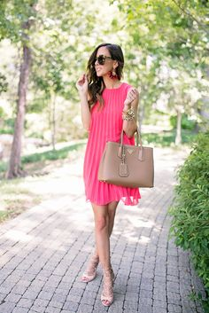 Pink pleated dress + tan ankle wrap heels