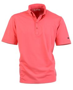 $90 Ardglass in Coral - Golf shirt with contrast colour tailors stitching on collar, plackette and cuff. 63% Pima Cotton 37% Polyester