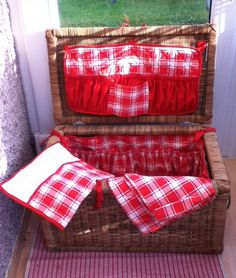 Hand Made Red and White Picnic Basket and by poptartsandjelly, £60.00