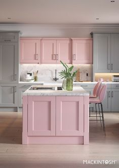 Blush and grey modern kitchen with island Home Decor Kitchen, Interior Design Kitchen, Home Kitchens, Pink And Grey Kitchen, Pastel Kitchen, Modern Kitchen Island, Pink Home Decor, Traditional Kitchen, Kitchen Remodel