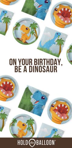 Simplify your child's dinosaur party with full party supply packs from Hold the Balloon, so you can hold on to the joy.  Get our Cake-O-Saurus  party supplies for a simple kids birthday  that's T-Rex approved. #dinsaurparty #partysupplies