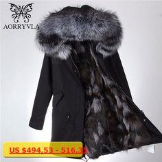 AORRYVLA Real Fur Parka For Women Winter 2017 Large Raccoon Fur Collar Hooded Long Coat Real Fox Fur Lining Female Warm Parka