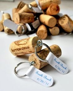Wine Cork Keychains - pinned on a friend's wedding board, but they could be done for any fun gathering that requires a favor!