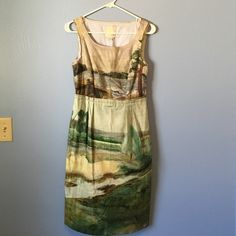 Anthropologie watercolor dress Gorgeous! Empire waist water color. From Odille. Anthropologie Dresses Midi