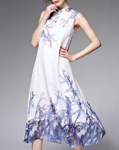 White Vintage Floral Print Sleeveless Midi Dress