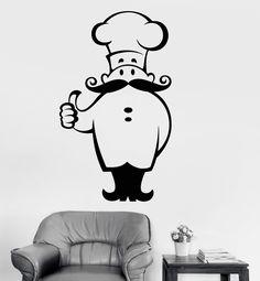 Autocollants Muraux Chef Chapeau Cook Cuisine Restaurant Café Food Art Autocollant Vinyle Pièce