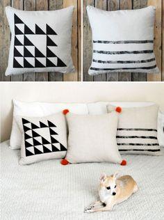 kissen einfach schwarz weiß geometrische  figuren