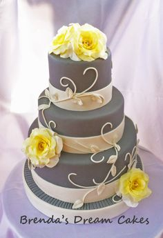 Elegant gray with yellow roses - Super simple but elegant 3 tier wedding cake with yellow roses ( omg they will be the death of me one day!).... I was way too tired to trust myself to pipe the swirls so I went with gumpaste.. loved the way it came out! TFL! <3