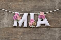 Felt name banner, Pastel flowers, nursery decor, personalized gift, baby felt letters, baby name garland, made to order, baby room decor