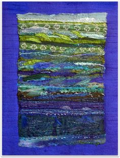 Rosie stitch: Recycled sari silk, embroidered and beaded. some can do this very neatly its amazing the different tech Sari Fabric, Sari Silk, Fabric Art, Ribbon Projects, Creative Textiles, Quilt Modernen, Textile Fiber Art, Landscape Quilts, Ribbon Art