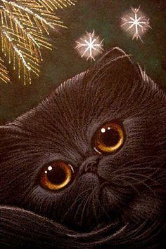 """Black Persian Cat and Snowflakes"" par Cyra R. Cancel"