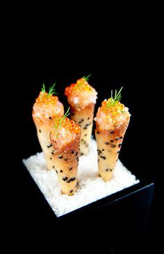 Salmon Tartare Cornets with Sweet Red Onion Crème Fraîche by zencancook #Salmon #Appetizer #zencancook