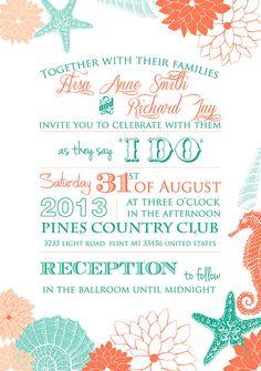 PRINTABLE Beach Tropical WEDDING INVITATION by DesignedWithAmore