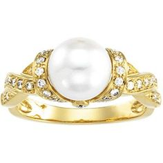 Freshwater Cultured Pearl & Diamond Engagement Ring - This fascinating Freshwater Cultured Pearl & Diamond Engagement Ring is stamped in an amazing 14k Yellow Gold. In the center of the cultured pearl ring comes a beautiful Round clean White Pearl. The Freshwater Pearl & Diamond ring is 1.20mm in diameter & the total gem weight is equal to 2.69 carats. #unusualengagementrings