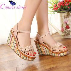 Platform wedges women sandals New color block bohemia sandals open toe wedges sandals female platform women's platform sandals