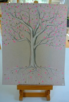 Original piece!!Tree with pink, white, and gold blooms.*11in. x 14in.*Prismacolor colored pencils and Uni-ball Signo gel pen*Strathmore Toned Tan paper 400 series