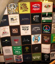 T-shirt quilt! I have a box of old T-shirts just waiting to be made into a quilt!