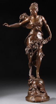 "French bronze titled, ""Paix Et Abundance,"" Adrien Etienne Gaudez."