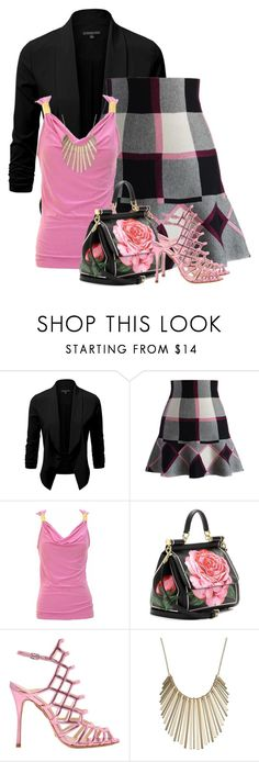 """""""Chicwish Plaid Skirt"""" by barbarapoole ❤ liked on Polyvore featuring Chicwish, jon & anna, Dolce&Gabbana, Schutz and Jennifer Lopez"""