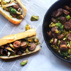 The perfect fall sandwich: Bratwurst and brussels sprouts on a french ...