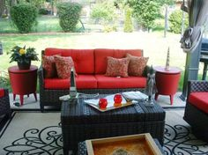 Set apart indoor-outdoor spaces with bold colors that contrast with the exterior. RMS user Val Moore opted for red and black and gave this space an inviting, Asian feel. Source by ellenmarshall Outdoor Rooms, Outdoor Living, Outdoor Furniture Sets, Indoor Outdoor, Garden Furniture, Red Cushions, Asian Home Decor, Furniture Layout, Room Colors