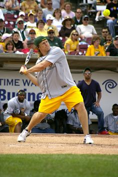 Clay Matthews at the Donald Driver Charity Softball Game. Baseball is definitely not his sport. Stick to football boo!