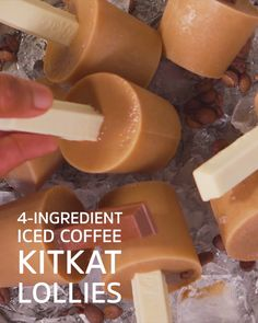 A summertime pool-side treat with a caffeine kick Ice Lolly Recipes, Cream Recipes, Dessert Recipes, Ice Cream Bites, Spiced Coffee, Frozen Meals, Homemade Desserts, Summer Desserts, Coffee Recipes