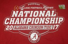 University Of Alabama 2017 National Championship Playoff T-Shirt L Large New College Football Playoff, Alabama Football, Nick Saban, University Of Alabama, National Championship, Alabama Crimson Tide, Roll Tide, Confetti, T Shirt