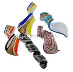 Mode Lampwork Anhänger, Spirale, handgemacht, Goldfolie und Siberfolie, gemischte Farben, 29x64x18mm, 35x76x18mm, 290x220x20mm, Bohrung:ca. ...