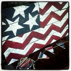 Someday Crafts: Chevron Pallet Flag... i love it! (I'm also thinking this would be a cute tv tray redo-OR a family art piece with handprints for stars!)