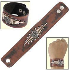 Shield in Faith Cross Leather Cuff Bracelet