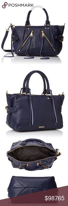 JUST IN! 🌃REBECCA Minkoff Moro Satchel 🌃 This beauty looks and smells AHHHHMAZING!! Ultra versatile Moon Cowhide Leather can be worn with black, brown, and Everything in between! This Stunning  Satchel in pebbled leather with woven top handles features tassel trims and angled zip pockets, Adjustable cross-body strap, fabric lining, and light gold hardware.  Dimensions 16.6 x 14.3 x 6.7 inches Rebecca Minkoff Bags Satchels
