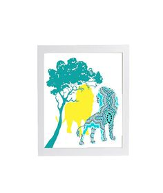 Trendy Modern Nursery Art Lions in Turquoise Yellow by woodendoll, $10.00