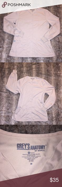 EUC Grey's Anatomy Long Sleeve Tan Khaki Scrubs M Excellent used condition. Zero Flaws. Grey's Anatomy Scrubs. Tan, Cream, Khaki colored. Size Medium. Long sleeves. Very comfortable fabric! Measurements in photos. Thank You for looking at my closet! Barco Tops
