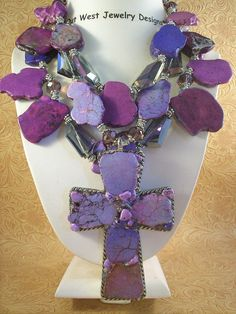 Christian Cowgirl Necklace Set - Chunky Purple Howlite Turquoise Cross.... FOR AUNTIE