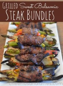 Grilled Sweet Balsamic Steak Bundles - To make low carb use jicama or turnip strips or even onion strips instead of potatoes. Good idea for a cheaper cut of steak. Grilling Recipes, Paleo Recipes, Dinner Recipes, Cooking Recipes, Steak Recipes, Dessert Recipes, Desserts, Carne Asada, Pizza Paris