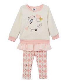 White Gidget Ruffle Pullover & Pants - Toddler & Girls
