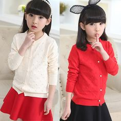 girls jacket cardigan kids coats and jackets girl outerwear children toddler for 3~15 year new fashion sping autumn sweater red