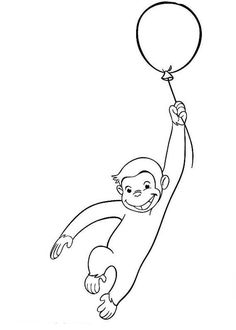 Curious George Fly with Balloon Coloring Page - NetArt Curious George Coloring Pages, Book Themes, Animal Crafts, Colouring Pages, Easy Drawings, Adult Coloring, Fun Activities, Painted Rocks, Balloons