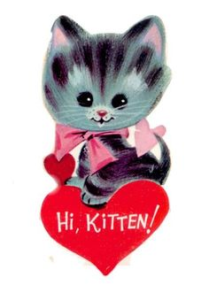 Kitten and Hearts Vintage Valentine Card by PaperPrizes on Etsy