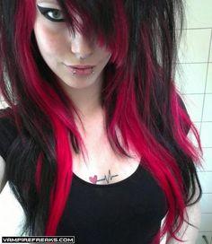 Ideas For Hair Color Pink Black Eye Makeup Hair Color Pink, Hair Color For Black Hair, Pink Hair, Pink And Black Eye Makeup, Pink And Black Hair, Pelo Emo, Et Tattoo, Corte Y Color, Pink Eyes