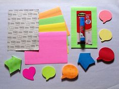 Anchor chart supplies - Various Post-it Notes and Repositional Glue Stick