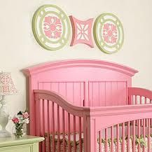 Love this painted baby bed! Neat idea for other nursery furniture.