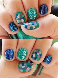 Alternating Blue Glitter, Turquoise Glitter& Multi Colored Fish Scales