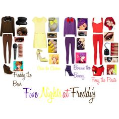 Five Nights at Freddy's by stayingstrongforever on Polyvore featuring moda, Arts & Science, Uniqlo, True Religion, Maison Kitsuné, Sugarhill Boutique, STELLA McCARTNEY, Salsa, Love Moschino and Giuseppe Zanotti